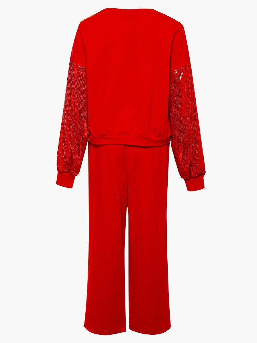 Комплект: свитшот укороченный и брюки кюлоты с завышенной талией, цвет: красный