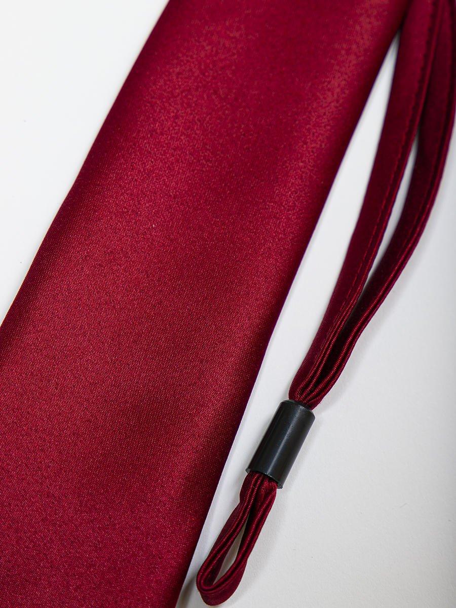 Галстук подростковый на клипсе, цвет: бордовый
