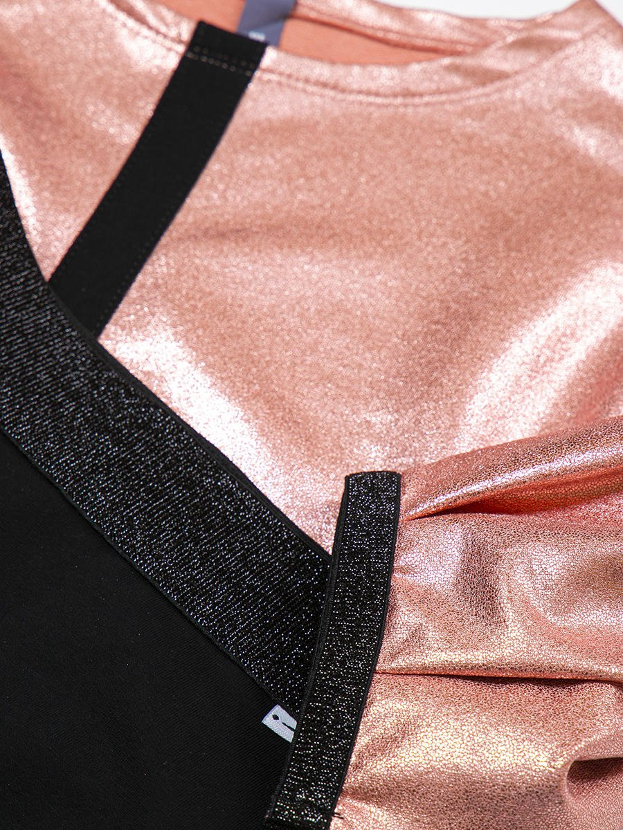 Комплект: свитшот укороченный и юбка прямого силуэта, цвет: пудра,черный