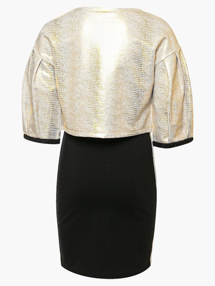 Комплект: свитшот укороченный и юбка прямого силуэта, цвет: золотой,черный