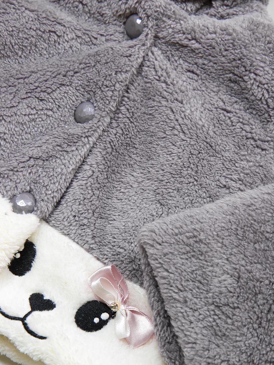 Кофточка махровая на подкладке для девочки, цвет: серый