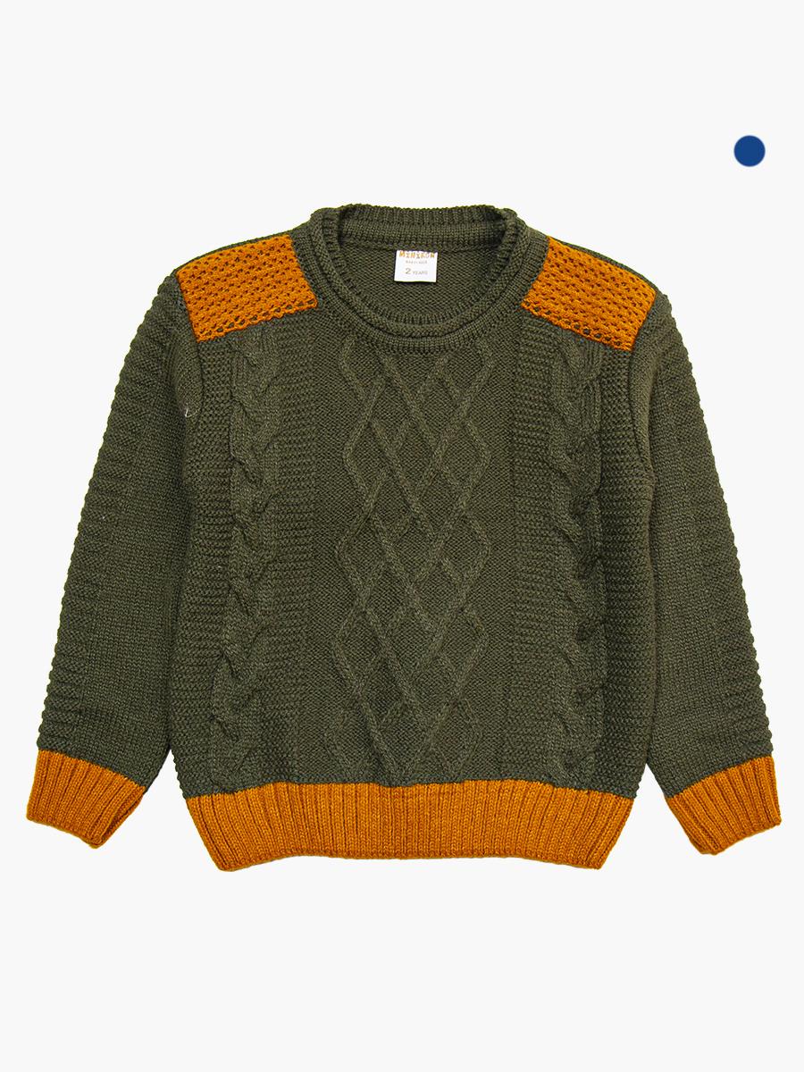 Джемпер вязаный для мальчика, цвет: хаки