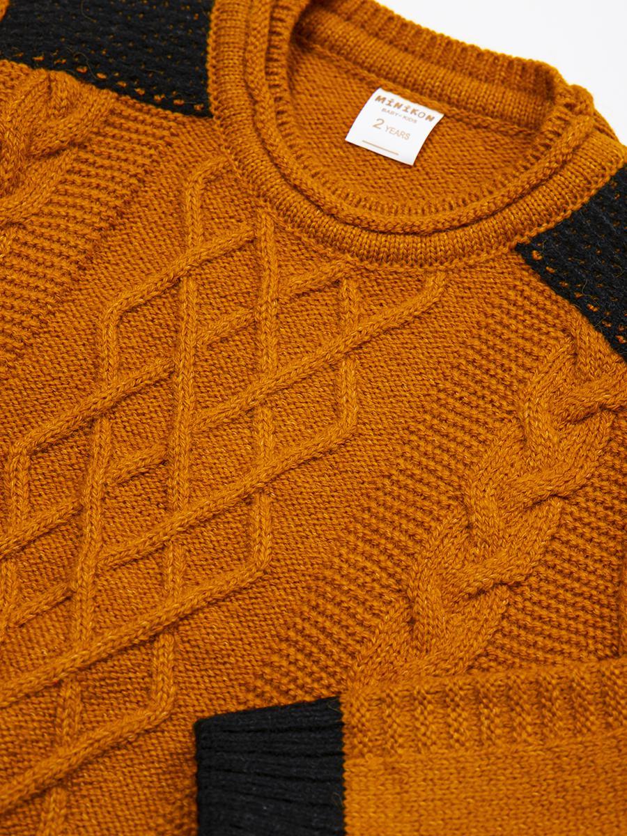 Джемпер вязаный для мальчика, цвет: горчичный