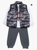 Комплект для мальчика: толстовка и штанишки с начесом, болоньевый жилет на синтепоне