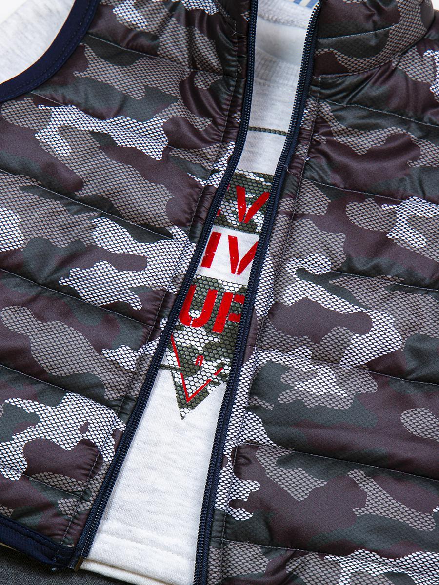 Комплект для мальчика: толстовка и штанишки с начесом, болоньевый жилет на синтепоне, цвет: хаки