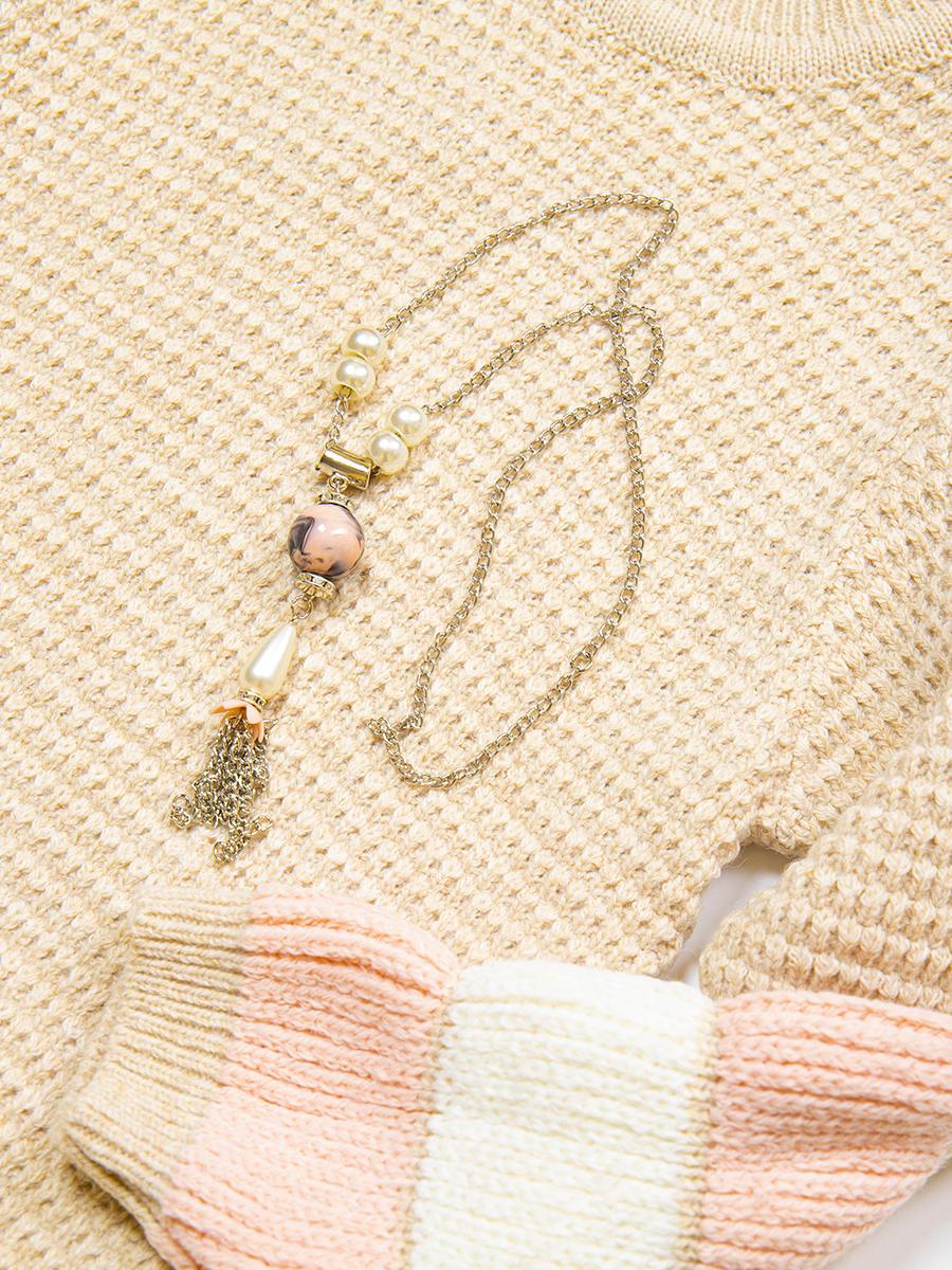 Джемпер вязаный для девочки, цвет: бежевый