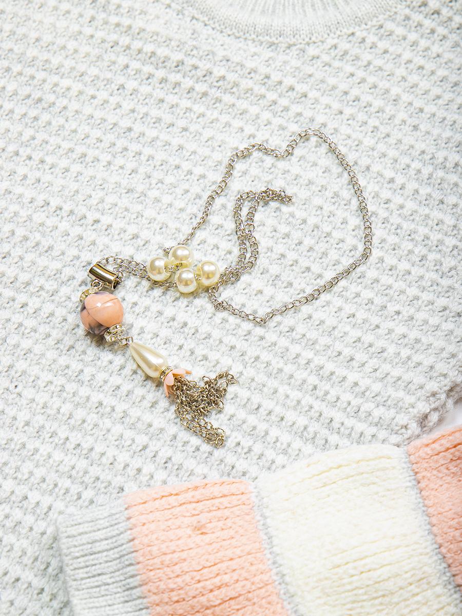 Джемпер вязаный для девочки, цвет: светло-серый