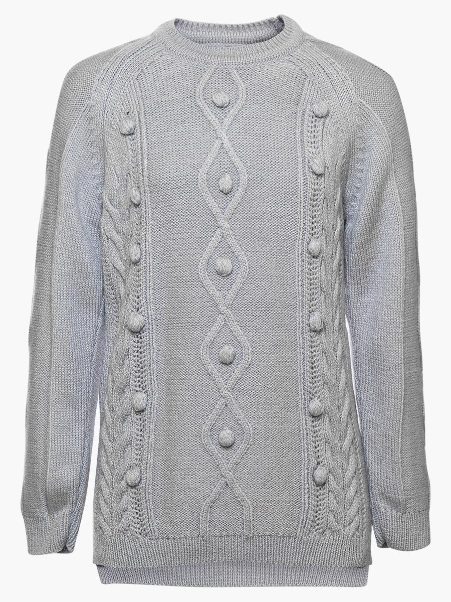 Джемпер вязаный для девочки, цвет: серый