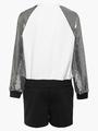 Комплект:свитшот и шорты прямые со средней посадкой, цвет: серебряный
