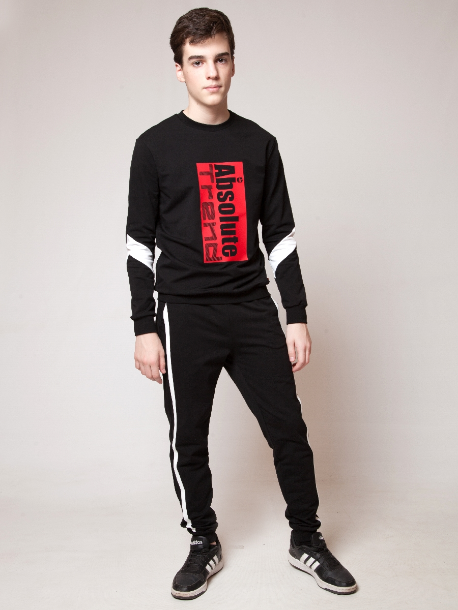 Костюм спортивный:свитшот и брюки прямые со средней посадкой, цвет: черный