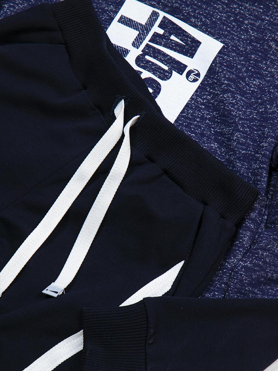 Костюм спортивный:свитшот и брюки прямые со средней посадкой, цвет: синий меланж