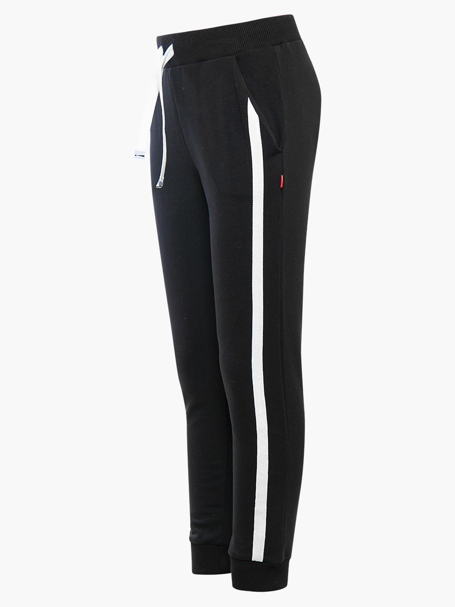 Костюм спортивный: свитшот и брюки прямые со средней посадкой, цвет: черный
