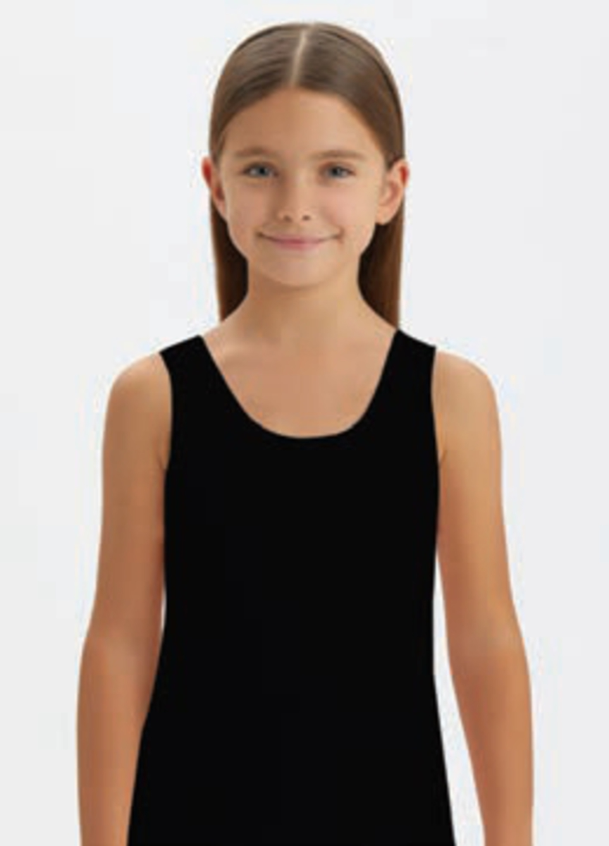 Майка для девочки, цвет: черный