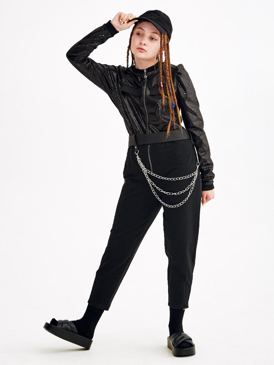 Комбинезон на молнии для девочки, цвет: черный