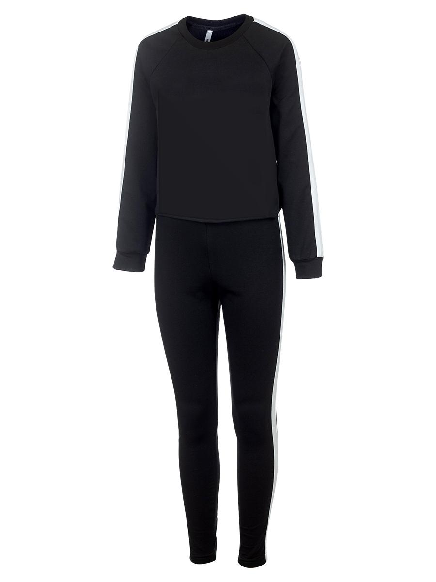 Костюм спортивный: свитшот укороченный и лосины с лампасами, цвет: черный