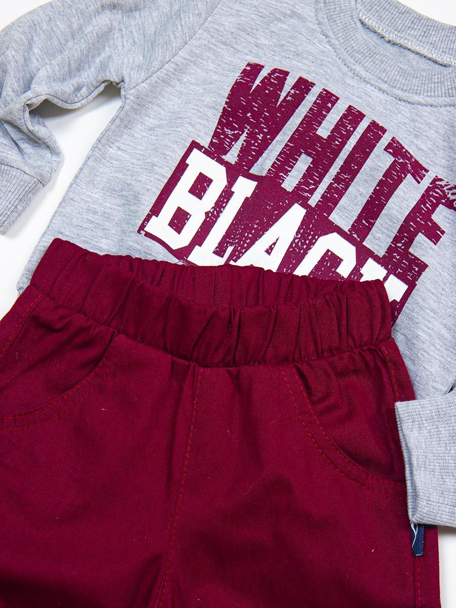 Комплект для мальчика: свитшот и брюки, цвет: бордовый