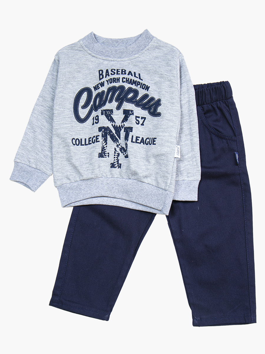 Комплект для мальчика: свитшот и брюки, цвет: темно-синий