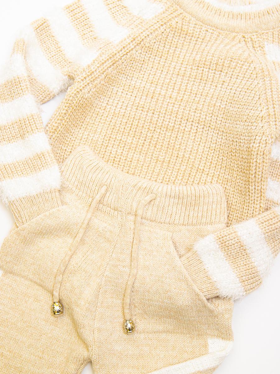 Комплект для девочки: джемпер и рейтузы, цвет: бежевый