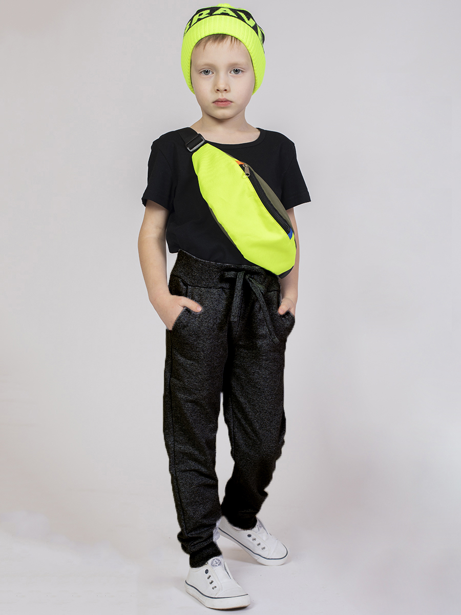 Брюки спортивные прямые со средней посадкой для мальчика, цвет: черный
