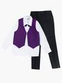 Костюм для мальчика: жилет,брюки,рубашка и бабочка, цвет: фиолетовый