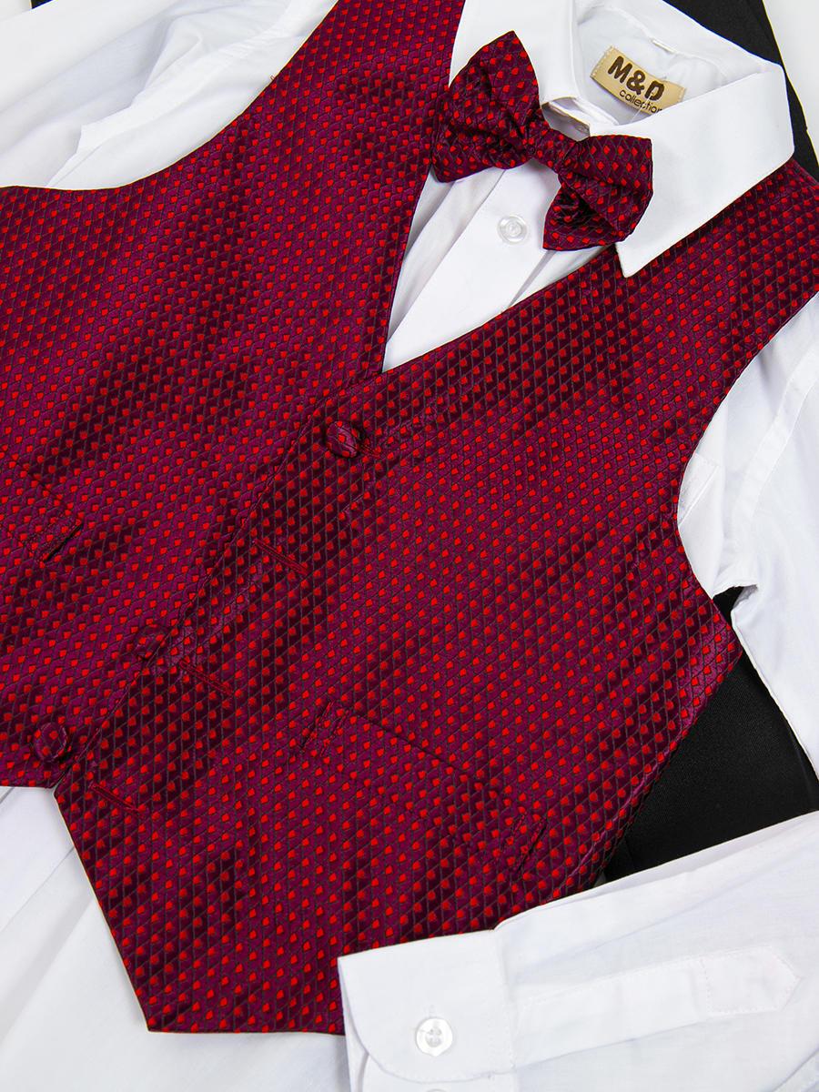 Костюм для мальчика: жилет,брюки,рубашка и бабочка, цвет: бордовый