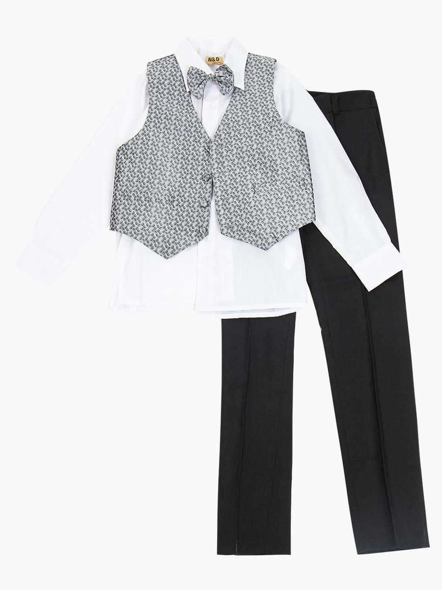 Костюм для мальчика: жилет, брюки, рубашка и бабочка, цвет: серый