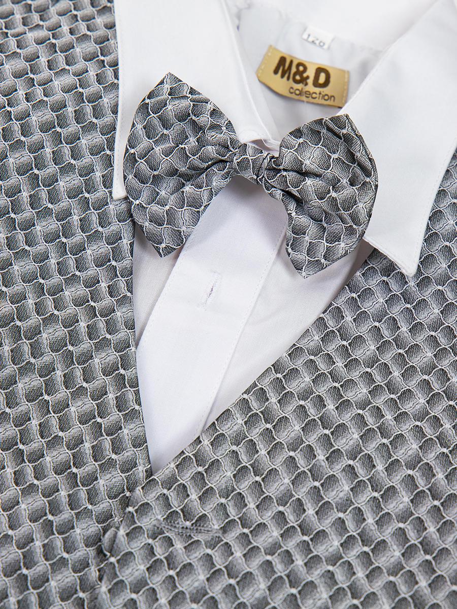 Костюм для мальчика: жилет,брюки,рубашка и бабочка, цвет: серый