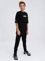 Брюки спортивные зауженные со средней посадкой для мальчика, цвет: черный