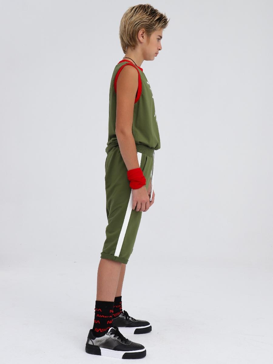 Бриджи зауженные со средней посадкой для мальчика, цвет: темный хаки