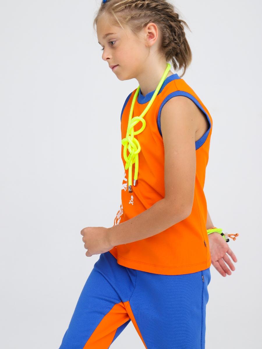 Бриджи зауженные со средней посадкой для мальчика, цвет: джинс,оранжевый
