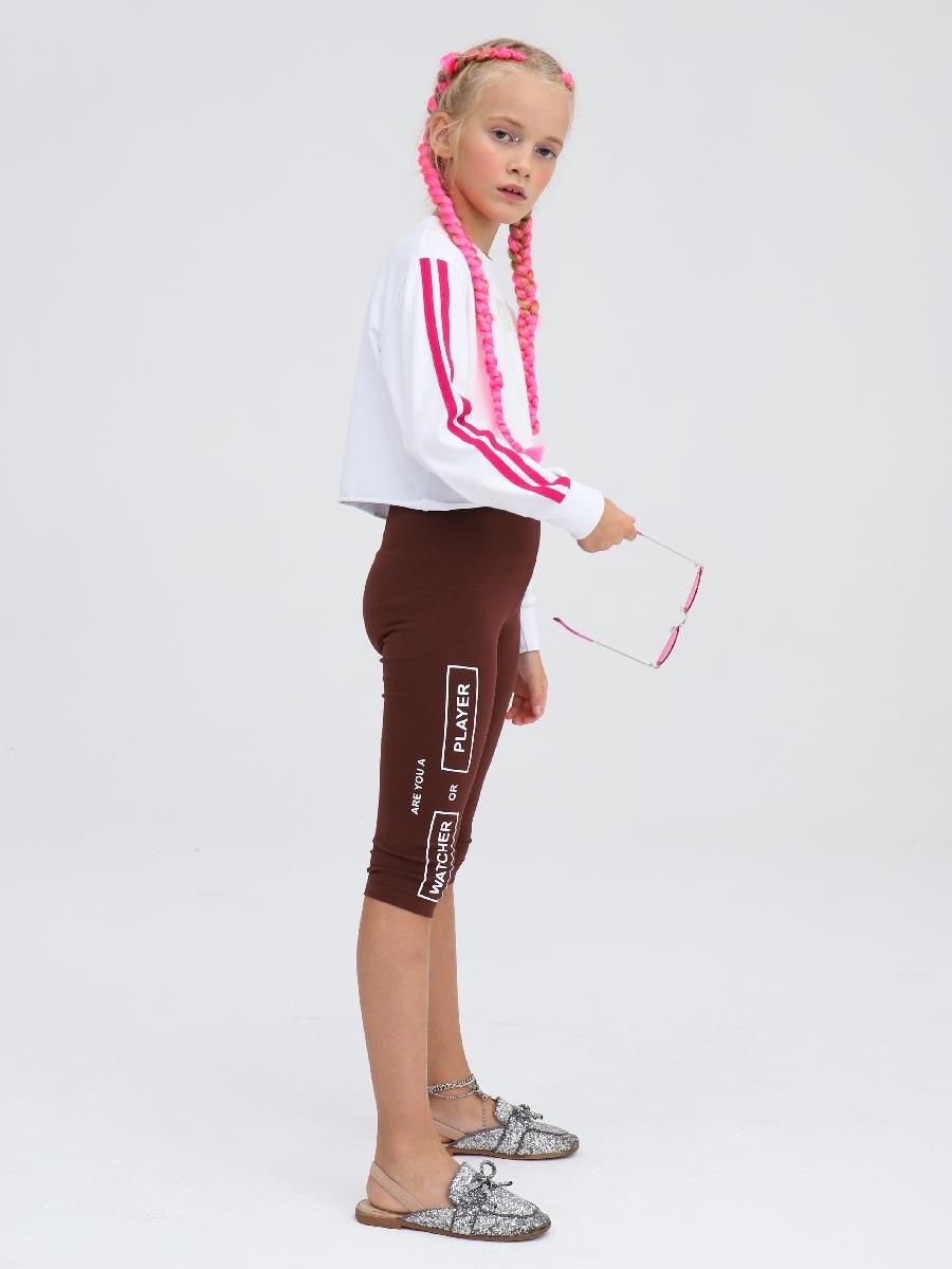 Бриджи облегающие со средней посадкой для девочки, цвет: шоколадный