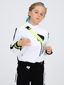 Костюм спортивный: толстовка свободного силуэта и брюки прямые со средней посадкой, цвет: белый,черный