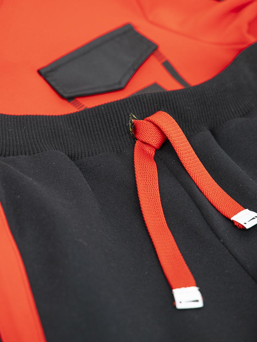 Костюм спортивный: толстовка свободного силуэта и брюки прямые со средней посадкой, цвет: красный,черный
