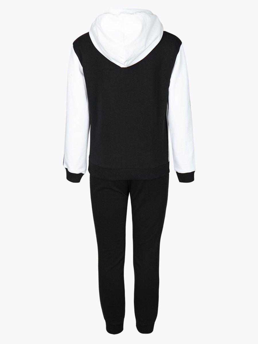 Костюм спортивный:толстовка свободного силуэта и брюки прямые со средней посадкой, цвет: белый,черный