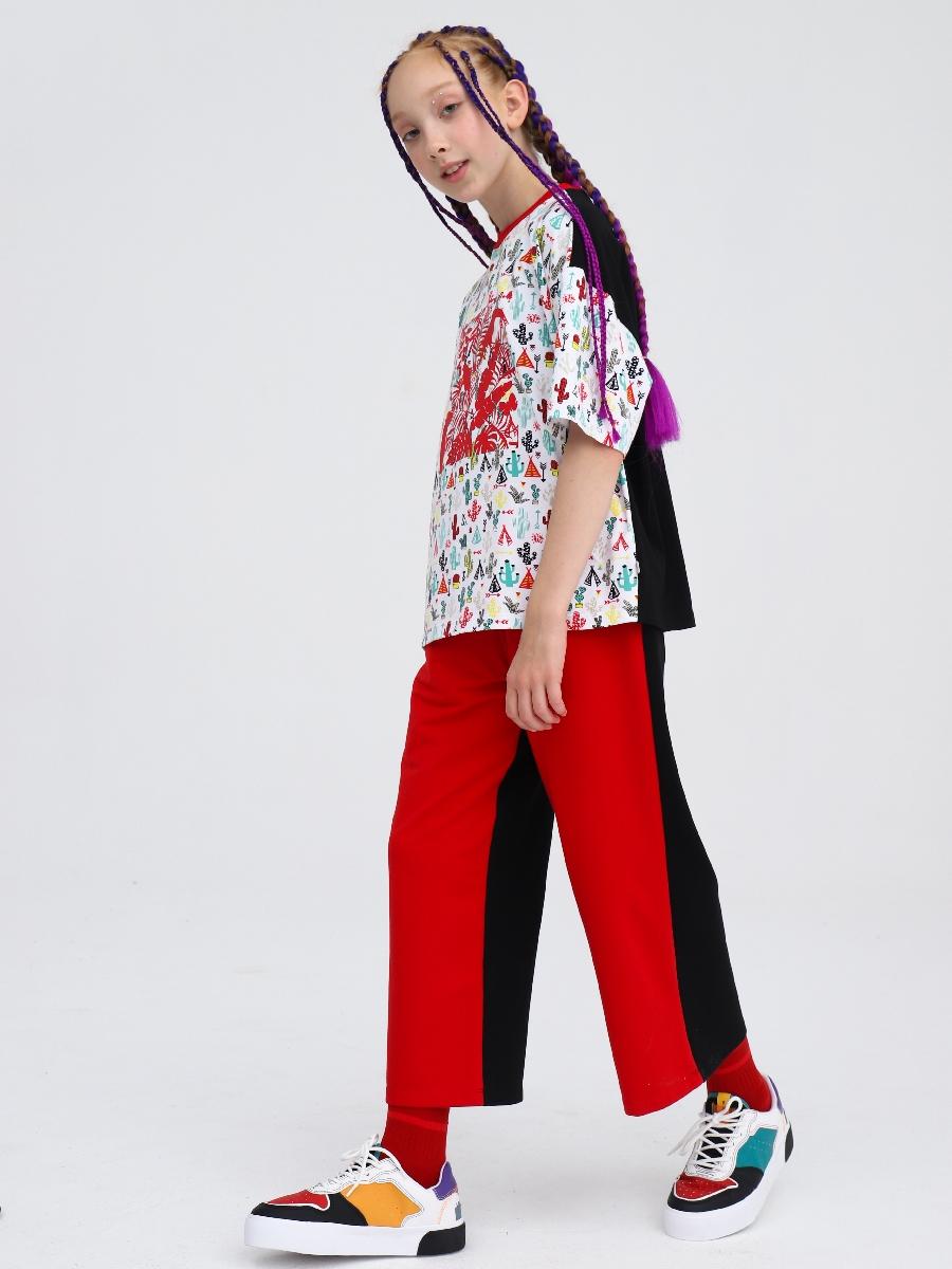 Комплект: футболка и брюки кюлоты с завышенной талией, цвет: красный