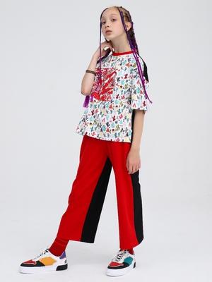 Комплект:футболка и брюки кюлоты с завышенной талией