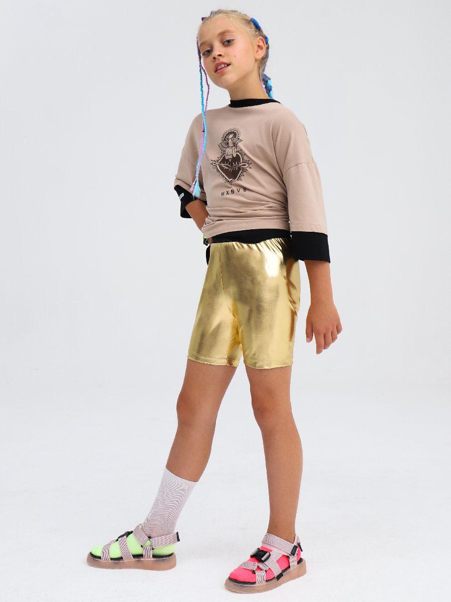Бриджи облегающие со средней посадкой для девочки, цвет: золотой