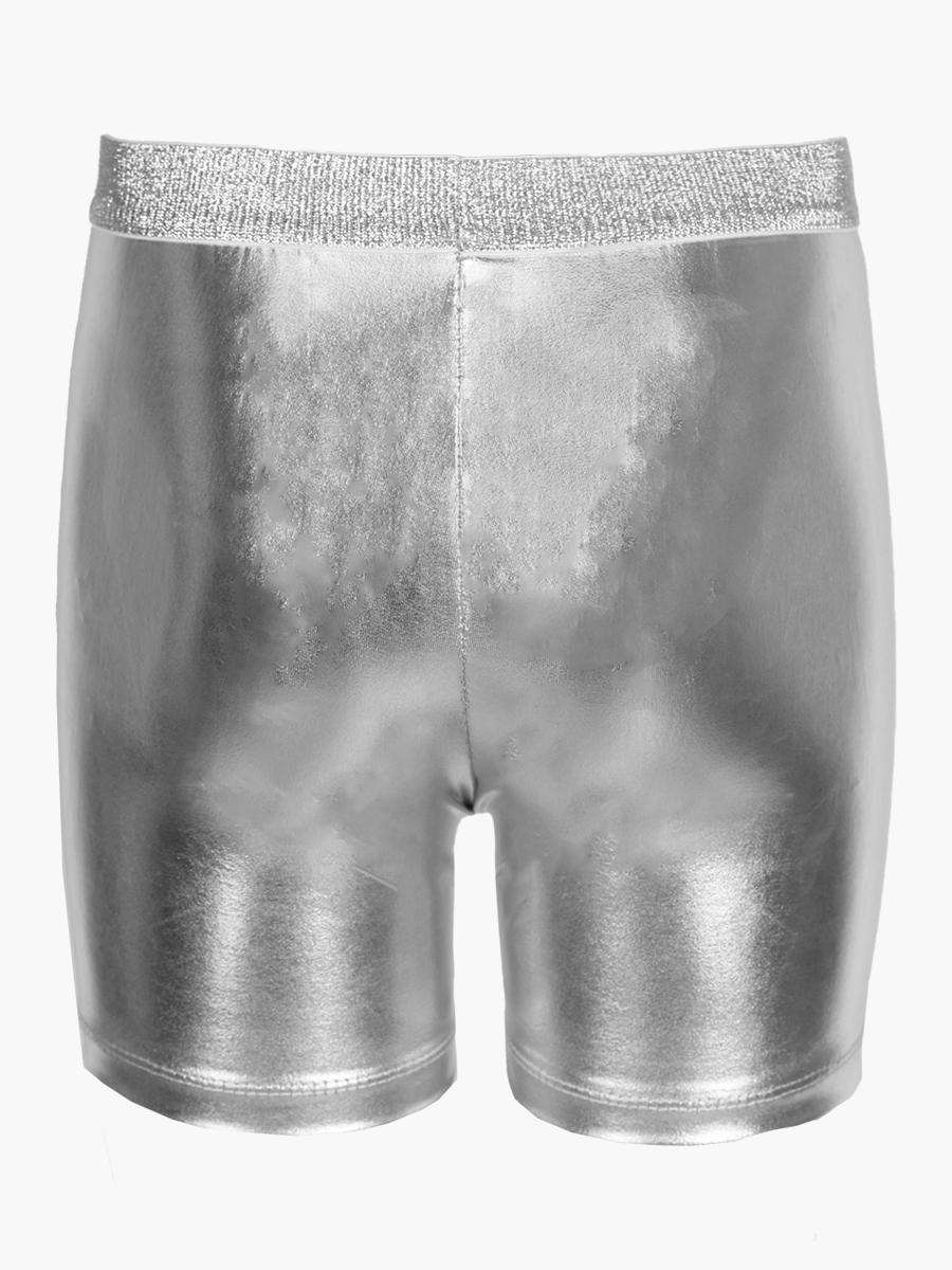 Бриджи облегающие со средней посадкой для девочки, цвет: серебряный