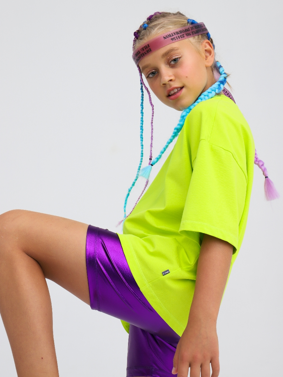 Бриджи облегающие со средней посадкой для девочки, цвет: фиолетовый