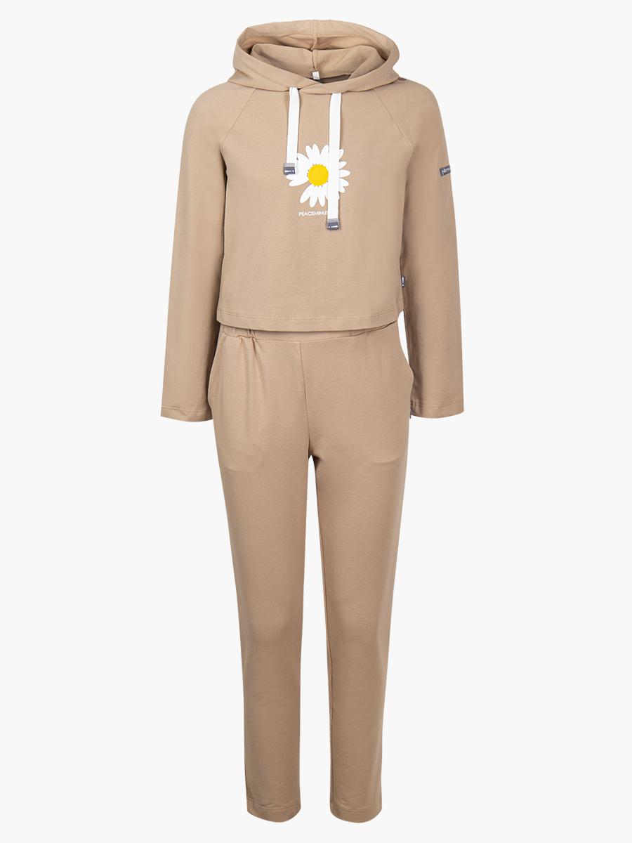 Комплект: толстовка и брюки зауженные с завышенной талией, цвет: кэмел