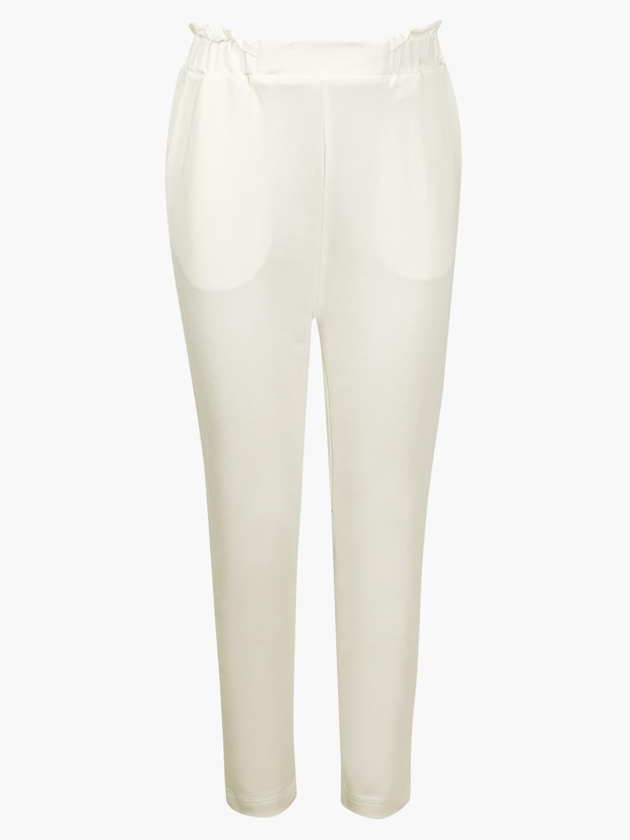 Комплект: толстовка и брюки зауженные с завышенной талией, цвет: молочный