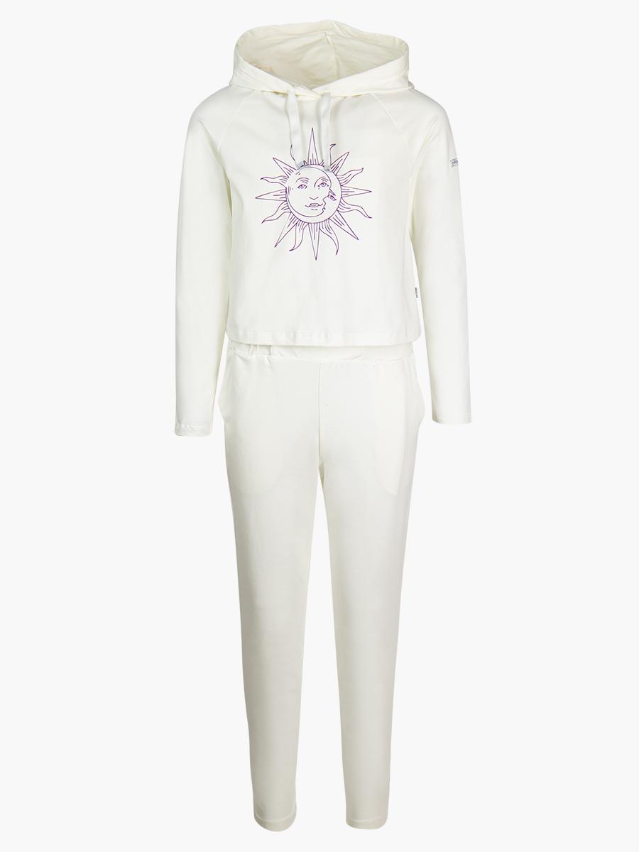 Комплект:толстовка и брюки зауженные с завышенной талией, цвет: молочный