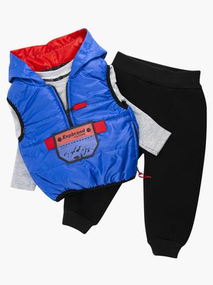 Комплект для мальчика: кофточка трикотажная, штанишки с начесом и жилет болоньевый на синтепоне