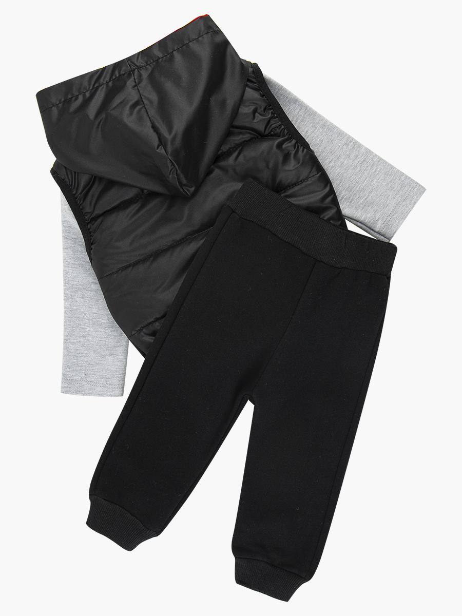 Комплект для мальчика: кофточка трикотажная, штанишки с начесом и жилет болоньевый на синтепоне, цвет: черный