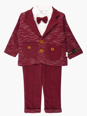 Комплект для мальчика: кофточка трикотажная, штанишки и пиджак с ворсом