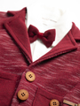 Комплект для мальчика: кофточка трикотажная, штанишки и пиджак с ворсом, цвет: бордовый