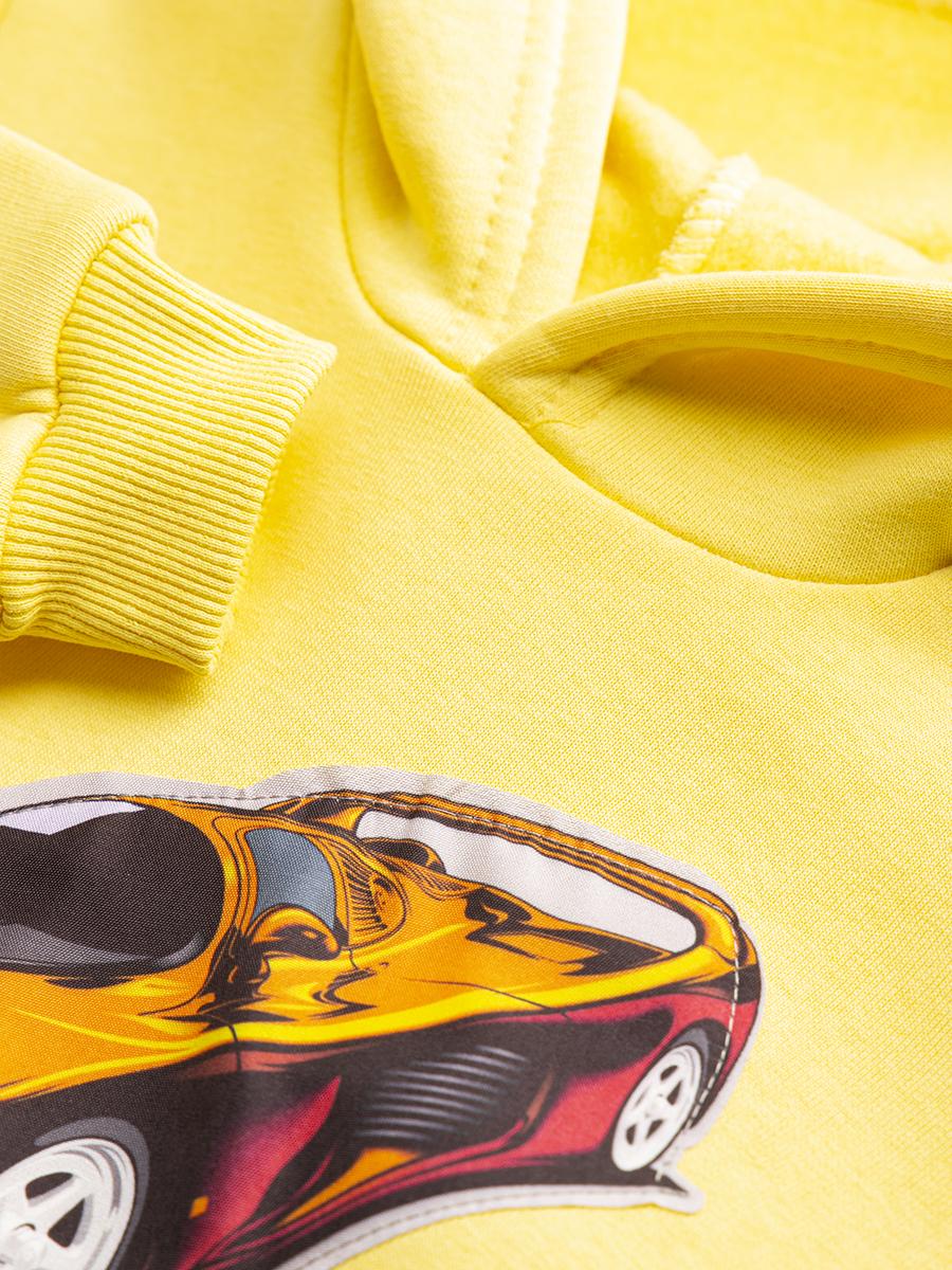 Комплект с начесом для мальчика: толстовка и штанишки, цвет: желтый