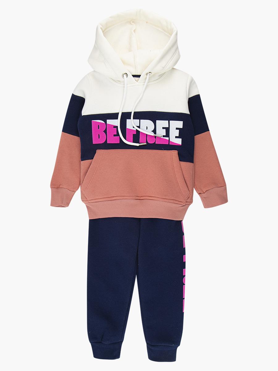 Комплект с начесом для девочки: толстовка и штанишки, цвет: персиковый