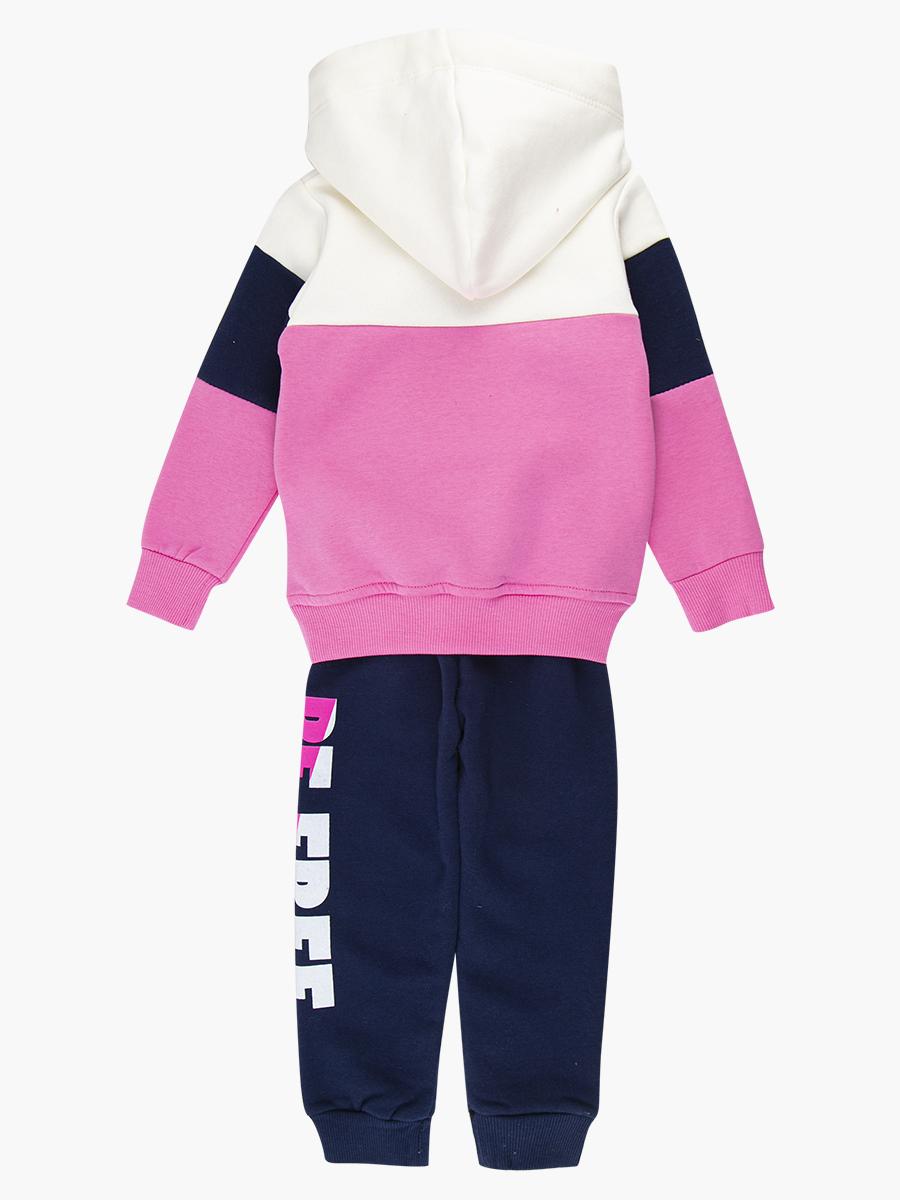 Комплект с начесом для девочки: толстовка и штанишки, цвет: розовый