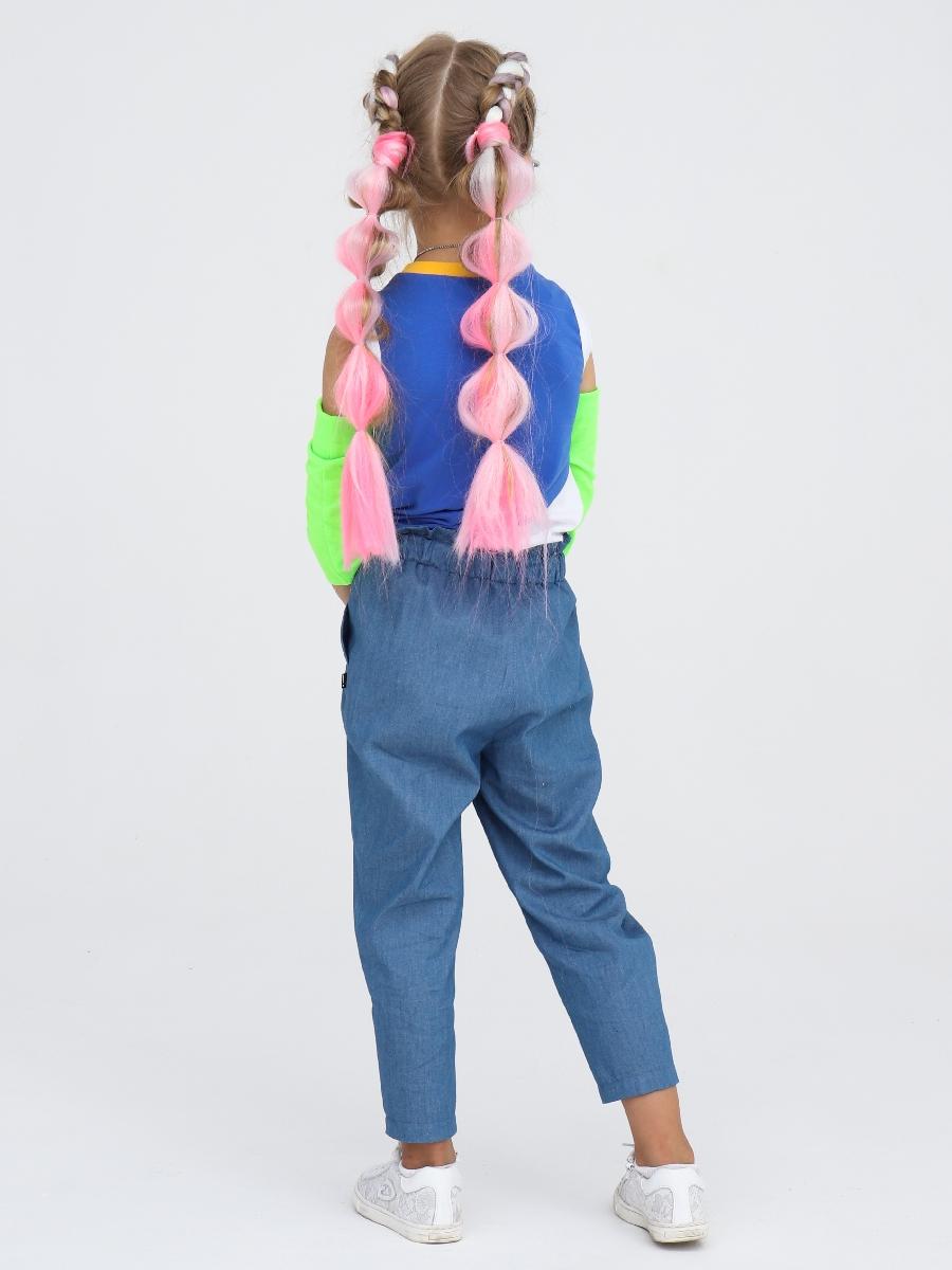 Брюки бананы с завышенной талией для девочки, цвет: голубой